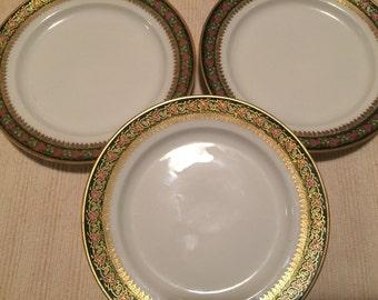 J Pouyet -Limoges - 3 Matched Dessert/Bread Plates 1890-1932