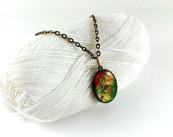 Hand painted pendant Colorful pendant Brass pendant Resin pendant Ellipse necklace Charm pendant Eco resin jewelry Oval pendant necklace
