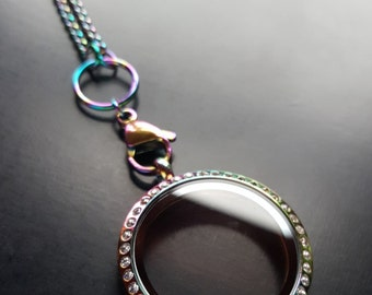 Large Rainbow Floating Locket-30mm-Stainless Steel-Crystal Face-Gift Idea for Women