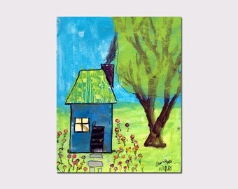 Whimsical House Art Whimsical Printable Art Mixed Media Digital Art 8x10 Instant Download Tree Wall Art Kids Wall Art Playroom Decor