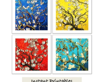 Printable Art Van Gogh Almond Blossoms Impressionism Impressionistic Art Modern Wall Decor INSTANT DOWNLOAD Blue Turquoise Red Yellow