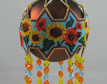 Sunflowers Beaded Ornament