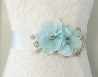 Blue Bridal Sash-Bridal Flower Sash-Blue Sash-Blue Wedding Belt-Blue Flower Sash-Maternity Sash-Rhinestone Light Blue Chiffon Flower Sash