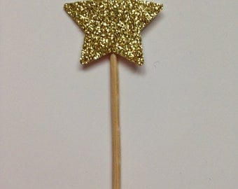 12 Gold Glitter Star Cupcake Cake Toppers - Wedding, Birthday Party, Afternoon Tea, Engagement, Baby Shower, Glittery