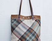 Everyday tote - Vintage Wool Plaid Fabric  - Waxed Canvas Bag - Tote - Purse - Gift for Her