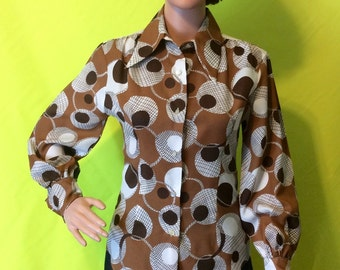 1970s Brown & White Blouse, XS