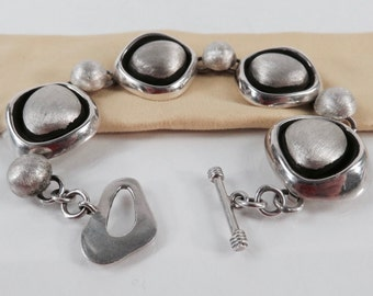 Modern Brushed Sterling Silver Bracelet Abstract Form Links