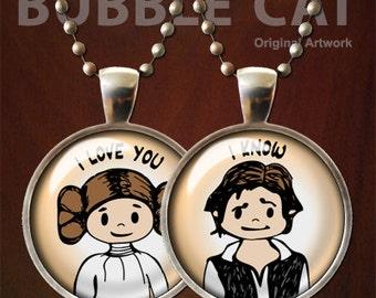 Han Solo, Princess Leia, I love you, I know Necklace Set, Star Wars Pendants Set