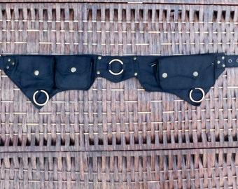 Pocket Belt Cotton Utility Belt,Festival Belt,Fanny Pack,Bum Bag,Hip Bag,Festival Clothing,Money Belt,Travel Belt,Burning Man.Waist Belt.