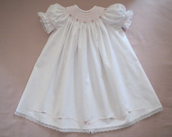 Precious White and Pink Hand Smocked and Embroidered Bishop Dress for Baby Girl Featuring Shadow Work Embroidery