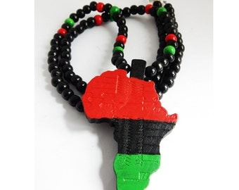 Africa Necklace African Jewelry RBG Red Black Green Beaded Necklace Mens Jewellery Afrocentric Hip Hop Africa Mens Jewelry