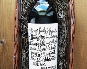 Thank You Wine Labels - Thank You Wedding Wine Label - Thank You Wedding Wine Bottle Label - Pack of 4
