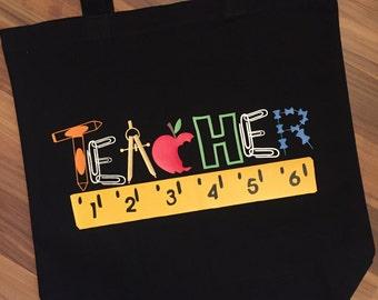 Teacher Tote Bag in Black with Vinyl Teacher Gift