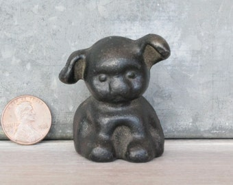 Cast Iron Griswold Pup Dog Advertising Paperweight Vintage Black Color Figurine Item#60