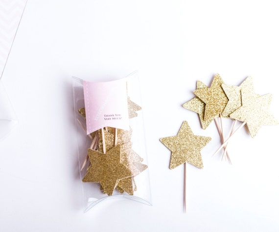 Star Cupcake Toppers. Glitter Star Birthday Decorations. Star Donut Picks 12CT