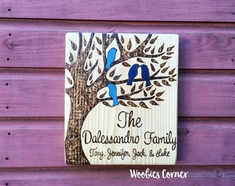 Valentines Day gift for wife, Family tree, Custom family sign, Wooden family sign, Personalized sign, Family wood sign, Family name sign
