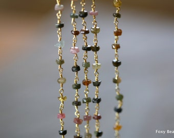 Rosary Beaded Gemstone Chain, Delicate Mixed Turmaline Bead Chain,  4mm, 24k Gold Plated Wire Wrapped Chain- 1 Ft  - GMSC006