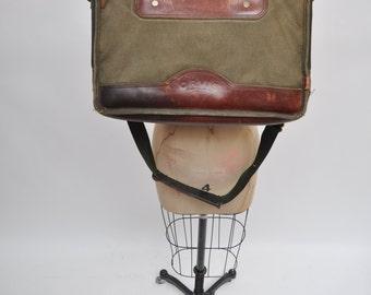 vintage leather satchel bag handbag ORVIS canvas cross body briefcase tote messenger bag