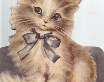 Large vintage die cut cat kitten greeting card digital download printable instant image