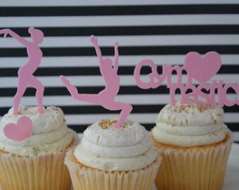 Gymnastics cupcake topper, edible, precut, , Cupcake Topper, edible edible topper, frozen theme party,