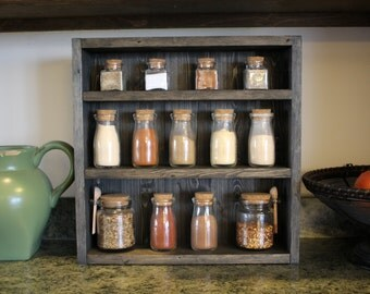 Small Countertop Spice Rack : Rustic Wooden Spice Rack, Wooden Spice Rack, Kitchen Rack, Wedding ...
