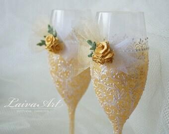 Ivory Wedding Champagne Glasses Wedding Champagne Flutes Wedding Toasting Flutes Ivory Wedding