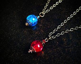 Potion Necklace, League of Legends, Geek Necklace, Mana Potion, Health Potion, Friendship necklace, Dota, Best friend, bottle charm necklace