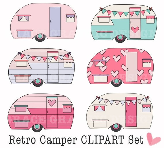 Retro Camper Clipart Camping DIY Digital Art Small Commercial Use PNG Pink Bunting Banner