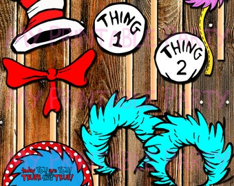 ON SALE-Dr. Seuss Photo Props-Thing 1-Thing 2 Photo Props-Cat in the Hat Props-Party Decorations-Center Piece-Props-Lorax-Cat in the Hat