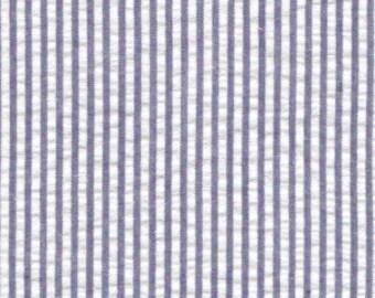 Navy Seersucker Fabric, Fabric Finders, 100% Cotton, Navy Blue Stripe
