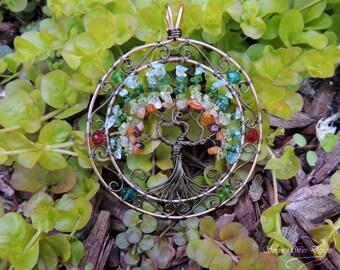 Gaia's Pet OOAK Citrine Aquamarine Chrome Tourmaline Phoenix Tree of Life Suncatcher Ornament