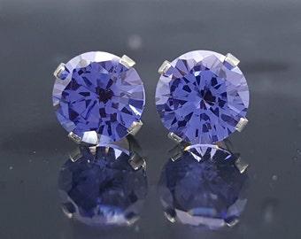 Tanzanite Earrings Silver Stud Gemstone 2.4 CTW Simulated Alternative Blue Stone Anniversary Jewelry Fashion Birthday Bridal Bridesmaid E74