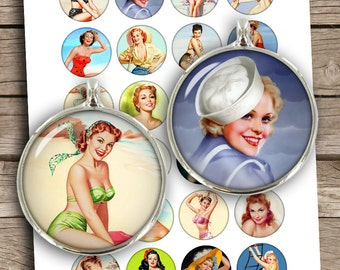 Classy Pinup Girls 1 inch 25m 30mm 1.5 inch Printable Circle Bottle cap images Cabochon Digital Collage Sheet - Instant Download
