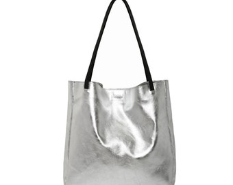 Leather bag, Silver tote bag, Leather tote bag, Large tote bag, Beach bag, Leather market bag for women leather bag, Shiny Leather bag, TES