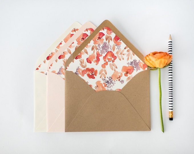 chloe pink floral lined envelopes (sets of 10)  // romantic watercolor floral blush pink envelope liners lined envelopes