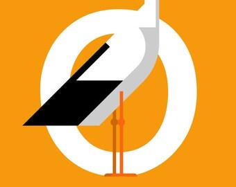 Dutch print: O is van Ooievaar (White Stork)