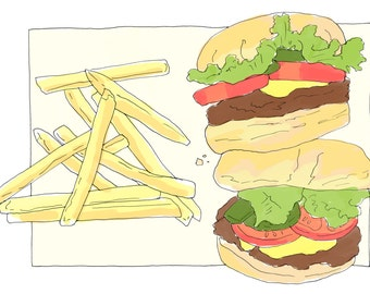 Burgers and fries A4 Print
