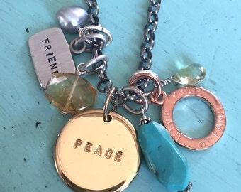 Sterling Peace Friend Live Your Dreams Charm Necklace