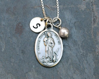 Saint St Martha Necklace - Personalized Initial, Swarovski Crystal Birthstone or Pearl - Patron Saint of Waiters, Waitresses, Cooks, Butlers
