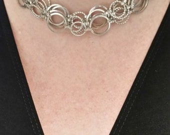 Silver Circles Necklace, Multi-strand, Layered, Professional Woman, Business Casual, Jewelry for the Office, Interview Jewelry
