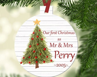 Personalized Our First Christmas as Mr and Mrs Ornament~ Christmas tree ~Christmas Ornament ~Just Married