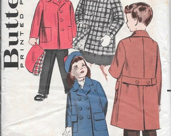 Vintage 1950s Butterick Sewing Pattern 9057- Girls' and Boys' Coat in two lengths size 2 breast 21 uncut