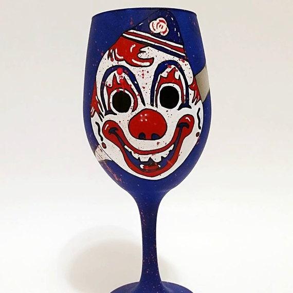 horror movie serial killer hand painted wine glass