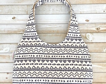 Navy Tribal Aztec Geometric Hobo Bag, Shoulder Bag, Reversible Purse, Over The Shoulder Bag, Sling Bag, Medium Size Purse, Canvas Bag