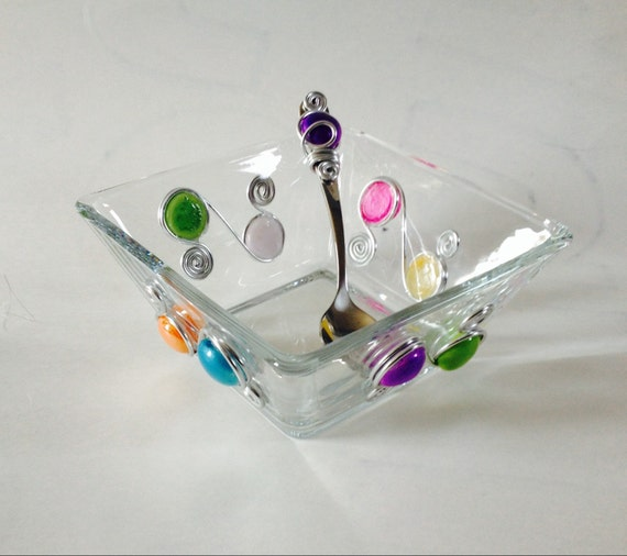 Medium Square Bowl #1- w/ Beaded Spoon,  Dip Bowl, Beaded Dish, Wire Wrapped Bowl, Serving Bowl, Wire Wrapped Utensil, Wire wrapped Spoon,