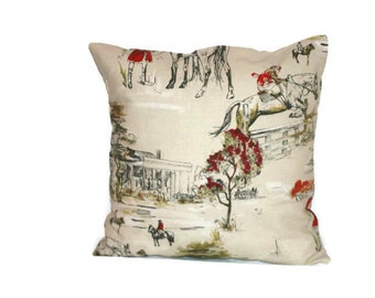 18 x 18 pillow cover, horse cushion, horse pillow, hunting cushion, horse hunting gift, countryside decor, hunting pillow, cushion cover
