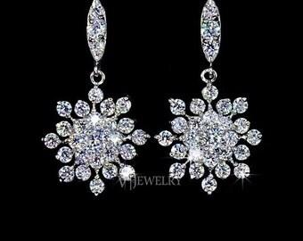 Snowflake Cubic Zirconia Earrings, Crystal Wedding Earrings, Frozen Earring, Bridesmaid Gift, Crystal Bridal Earrings, Snowflake Ear, AE0039
