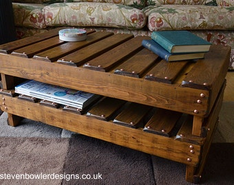 Bespoke Country Cottage Rustic Reclaimed Wood Coffee Table Medium Oak Stain & Copper Tacks with Undershelf Storage Handcrafted to Order