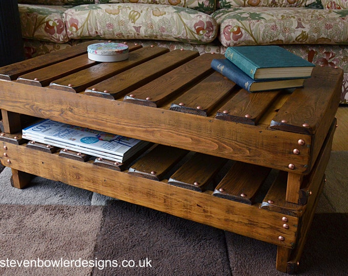 FREE UK SHIPPING Bespoke Country Cottage Rustic Reclaimed Wood Coffee Table Medium Oak Stain & Copper Tacks with Storage Handmade to Order