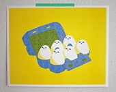 SALE! / Watchful Eggs / Risograph Print / Poster